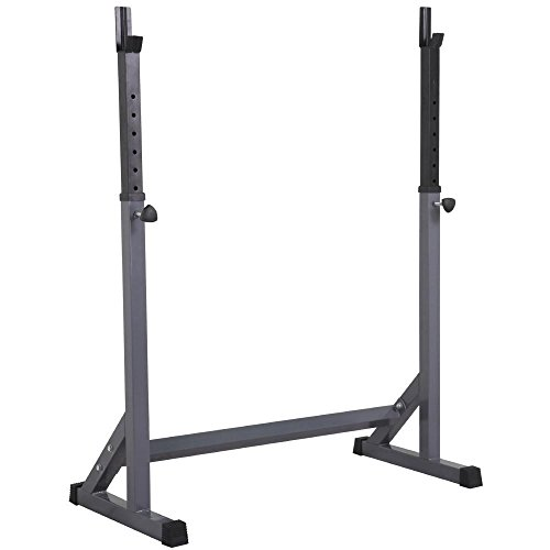 Topeakmart 44.5-72'' Adjustable Squat Rack Dipping Station Barbell Rack Dip