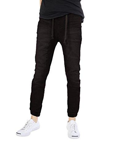 (JD Apparel Mens Slim Fit Washed Denim Joggers,Apg803_black,Large)