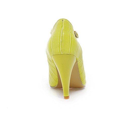 BalaMasa Girls fibbia kitten-heels scacchi in pelle goffrata pumps-shoes, Giallo (Yellow), 35
