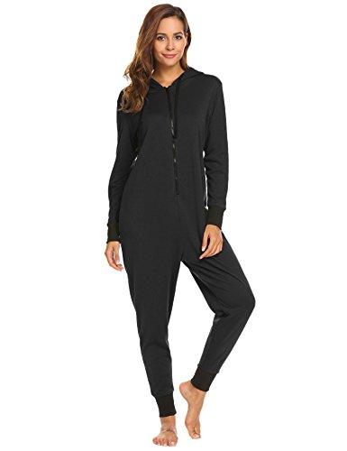 Ekouaer Womens Onesie Pajamas Adult Hooded Jumpsuit Non Foot