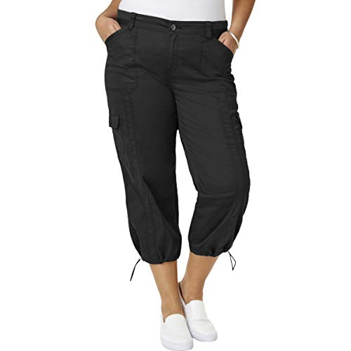 Style & Co. Womens Plus Capri Cropped Cargo Pants Black 16W