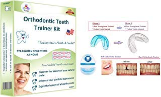 Orthodontic Teeth Trainer Kit Adult Teeth Straightener Phase 1 and Phase 2 (Gap Between Two Front Teeth After Braces)