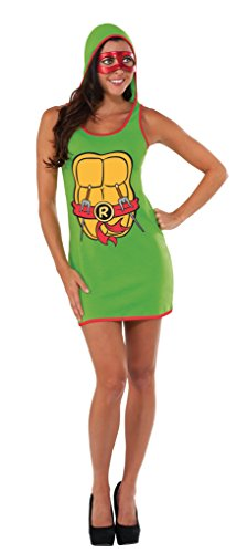 Rubie's Costume Co Women's TMNT Classic Costume Raphael Hooded Tank Dress, Green, (Ninja Turtles Costumes Women)