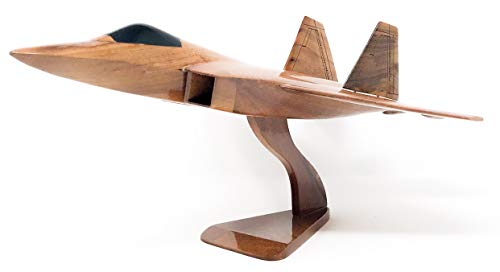 F-22 Raptor Replica Airplane Model Hand Crafted with Real Mahogany Wood