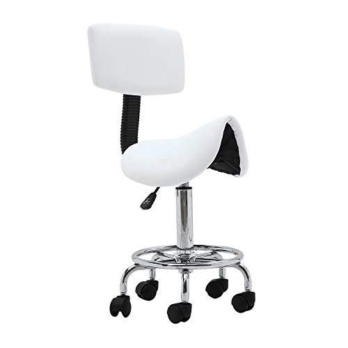 Rolling Swivel Saddle Stool Salon Chair with Backrest Adjustable Hydraulic Massage Stool for Salon Spa Tattoo Facial Medical Office (White)