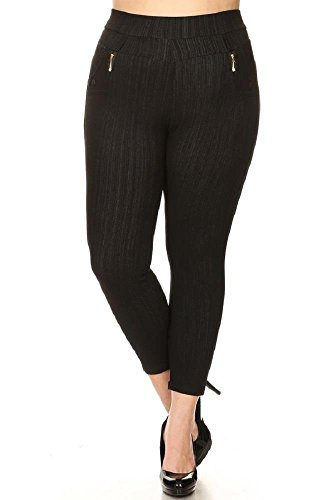 Women's Plus Stretchy Fleece Lined Skinny Knit Denim Ankle Leggings Black XXL