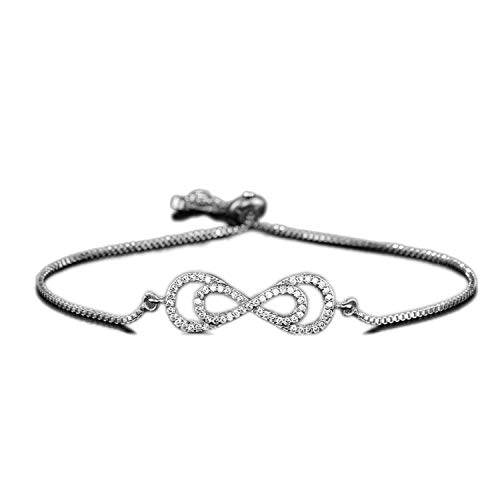Trendy Infinity Charm Bracelets for Women Silver Color Clear Cubic Zirconia Inlay Bracelets Adjustable,N11
