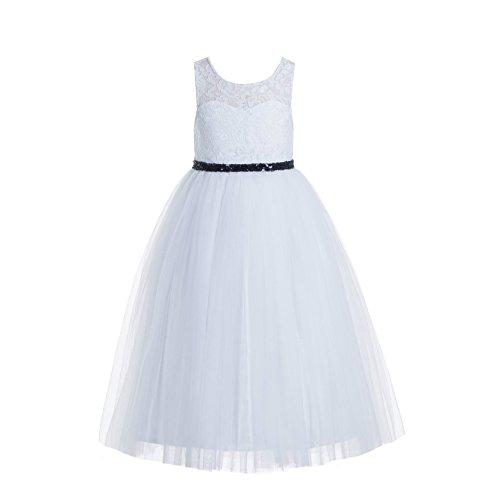 - White Scoop Neck A-Line Keyhole Back Floral Lace Formal Flower Girl Dress 178 4