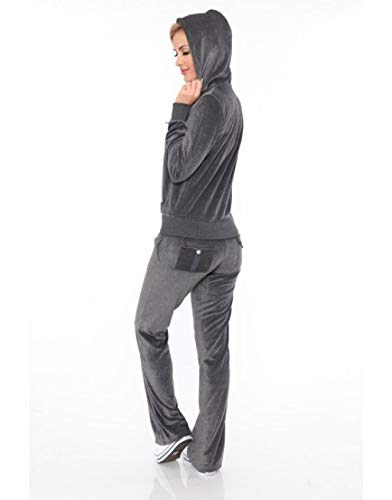 Women's Athletic Soft Velour Zip Up Hoodie & Sweat Pants Set Jogging Suit (L, Charcoal) from White Mark