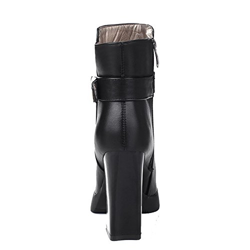 Heels Allhqfashion top Boots High Solid Black PU Closed Women's Pointed Toe Low r0Xrq