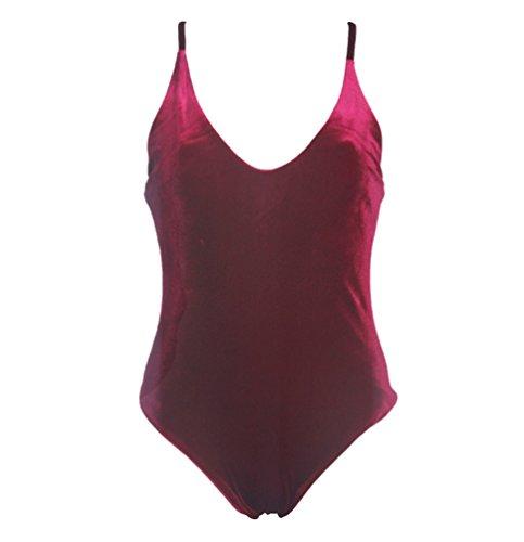 Monokini Trajes de Baño de Una Pieza Bikini Vestidos de Baños Bañadores Brasileños Terciopelo Ambos Lados Mujer Trikini Bikinis Triangl Deportivos Traje Ropa de Baño Para Señoras Swimwear Vino Rojo