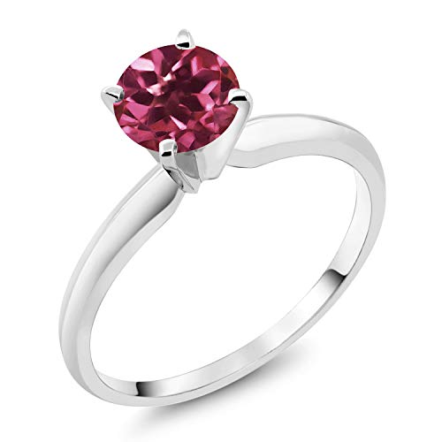 - Gem Stone King 18K White Gold 0.50 Ct Round Pink Tourmaline 4-prong Solitaire Engagement Ring (Size 9)