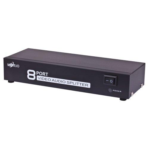 TNP AV Splitter 1 In 8 Out 3 RCA Composite Video L/R Audio Splitter Amplifier Distribution Split Box for Cable Box DVD DVR Analog TV