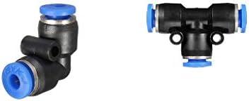 12mm 空気圧コネクタ エアホース継手 エルボ&ティーコネクタ プッシュ