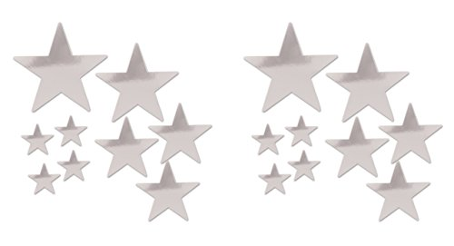 Beistle 53306-S Beistle 53306-S, 18 Piece Packaged Foil Star Cutouts, Assorted Sizes (Silver), Assorted Sizes, Silver ()