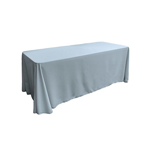 LA Linen Polyester Poplin Rectangular Tablecloth, 90 by 156-Inch, Blue light