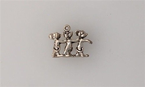 Three Blind Charm Mice (Sterling Silver 3-D Three Blind Mice Charm Jewelry Making Supply, Pendant, Charms, Bracelet, DIY Crafting by Wholesale Charms)