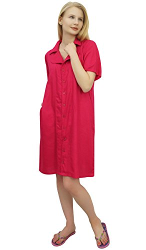 con dentellato Sleepshirt collare Shirt Bimba Nighty Rosa Fucsia le femminile tasche wx4Zc4qnWC