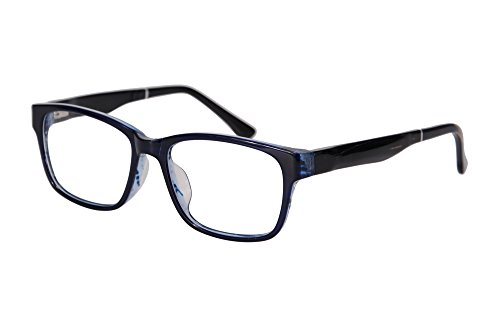 SHINU Wood Optical Eyewear Anti Blue Light Spectacles Clear Lens Frame with Bamboo Temple-E673(black-transparent blue-c4, demo - Blue Ray Spectacles