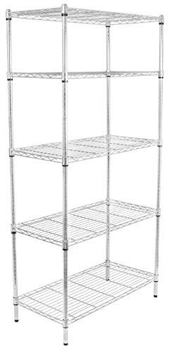 Internets Best 5-Tier Wire Shelving | Chrome | Heavy Duty Shelf | Wide Adjustable Rack Unit | Kitchen Storage