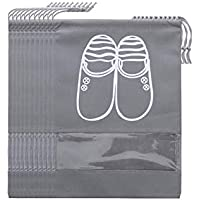 10pcs/Set Waterproof Travel Shoes Storage Bag Drawstring Organizer PVC transparent splicing home Shose Cloth storage bags mm