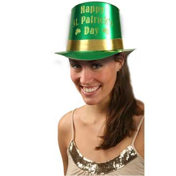 Green Glitter Top Hat (St. Patrick's Green Foil Top Hat with Gold Glitter)