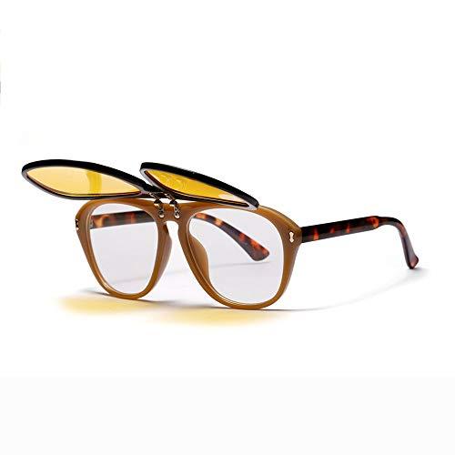 36e6fd2635e Meyison Oversized Retro Clip-on Flip Up Square Aviator Goggles Sunglasses