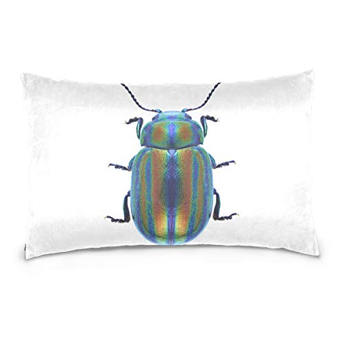 (Top Carpenter Colorful Beetle Velvet Oblong Lumbar Plush Throw Pillow Cover/Shams Cushion Case - 20x30in - Invisible Zipper Design for Couch Sofa Pillowcase Only)