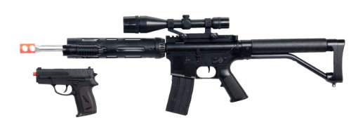 UKARMS Marksman Sniper Spring Airsoft Rifle & Pistol Combo Gun Set FPS 260