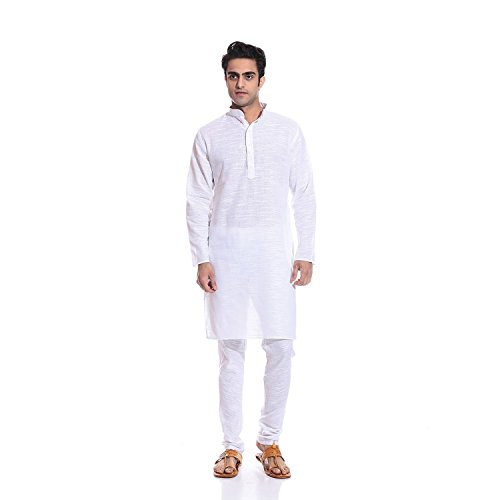 Bengali Wedding Costumes (Men's White 100% Pure Cotton Luxury Yoga Costume)