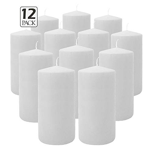 Hyoola White Pillar Candles 3x6 Inch - Unscented Pillar Candles - 12-Pack - European Made (The Three Pillars Of The European Union)