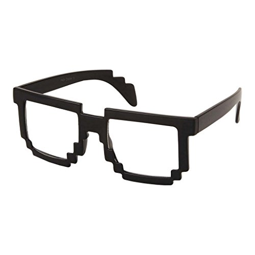 RETRO 8-Bit Geek Nerd Pixel Unisex Square Frame Clear Lens Eye GlassesBLACK ... -