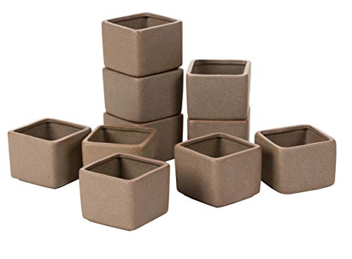 Mini Cactus and Succulent Planters - 10-Pack Square Shaped Ceramic Pots for Small Plants, Indoor Outdoor Garden Display, Light - Pot Square Brown