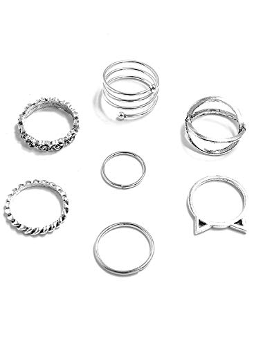 CORAFRITZ - Juego de 7 anillos para mujer, diseno de rosa