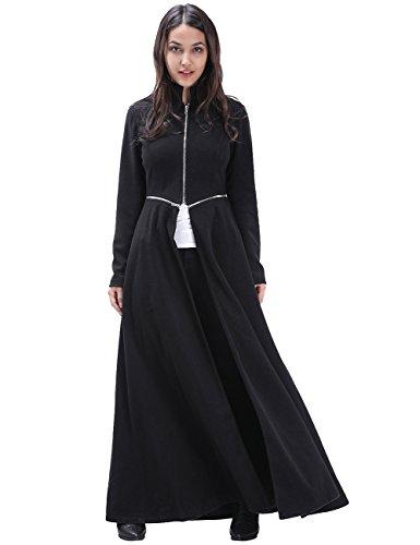 Collar Swing Coat - Fancyqube Women's Elegant Zipper Maxi Swing Full Length Trenchcoat Outwear Black S