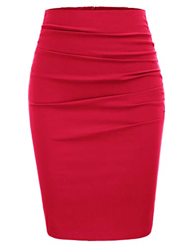 Womens Vintage Solid Color Pleated Front Hips-Wrapped Wear to Work Office Pencil Skirt Size 2XL,Red ()