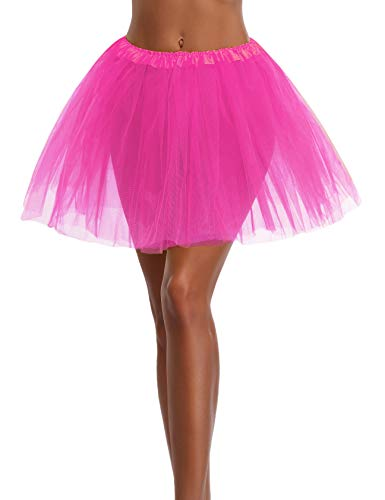 Women's, Teen, Adult Classic Elastic 3, 4, 5 Layered Tulle Tutu Skirt (One Size, HotPink 3Layer)]()