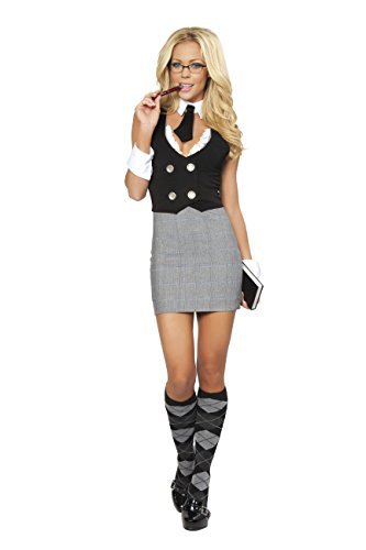 Adult Women's 4 Piece Sexy Librarian Dress Halloween Party (Naughty Librarian Halloween Costume)