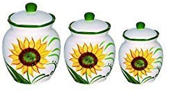 Lorren Home Trends Sunflower Design 3 Piece Deluxe Canister Set, Green