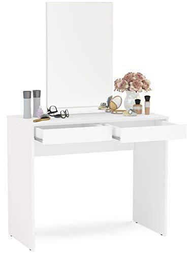 Boahaus Contemporary Vanity Set/Dressing Table with Mirror, 2 Drawers, White White