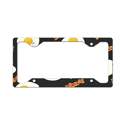 Style In Print Custom License Plate Frame Bacon and Eggs Breakfast Aluminum Cute Car Accessories Narrow Top Design Only Set of 2 ()