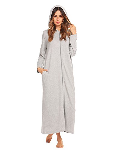 Ekouaer Womens Kimono Ultra Soft Hooded Robe Zip Front (Cotton Hooded Robe)