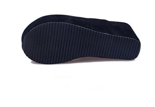 del Alto Dedo Inferior Gruesa De Pie del Zapatillas A Mujeres Cool Verano Respirable Zapatillas weiwei Las Tacón Spv0W