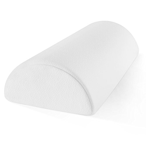 Memory Foam Half-Moon Bolster for Back and Knee Pain Relief - Wedge Pillow Provides Ultimate Support for Side and Back Sleepers - Semi Roll Pillow with Ultra-Soft, Washable Bamboo Blend - Cut In Moon Half