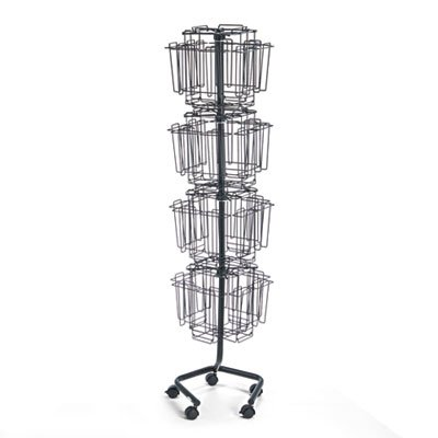 Wire Rotary Display Racks, 32 Compartments, 15w x 15d x 60h, Charcoal, Sold as 1 Each -