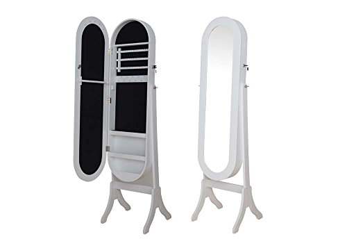 Brand New Jalyn 14''x15''x60''H White Finish Jewelry Armoire /Mirror by Click 2 Go