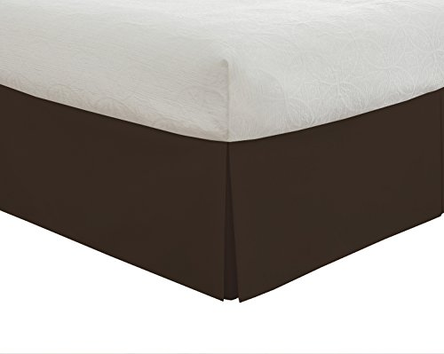 "Lux Hotel Bedding Tailored Bed Skirt, Classic 14"" Drop Length, Pleated Styling, Twin XL, Chocolate"