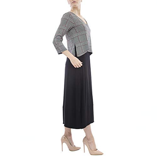 12 Sleeve Latte Long Black Overlay With Dress Checked Multi rqq41Y5B