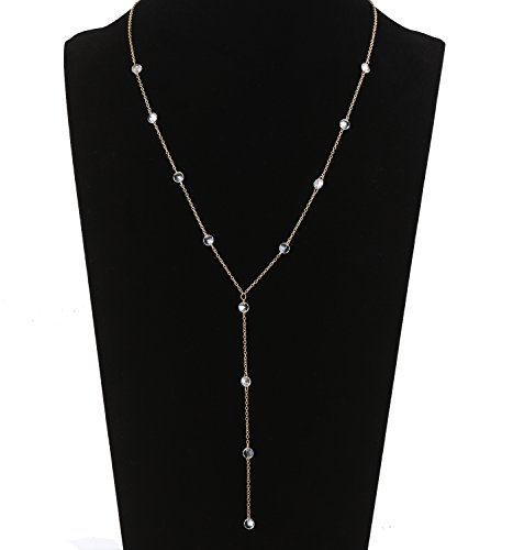 Isaloe Y Necklace for Women Silver Long Tassel CZ Stations Lariat Necklace (Gold-Round Diamond)