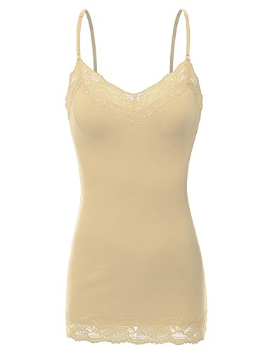 RT1004 Ladies Adjustable Spaghetti Strap Lace Trim Long Tunic Cami Tank Top Taupe S (Lace Tunic Beige)